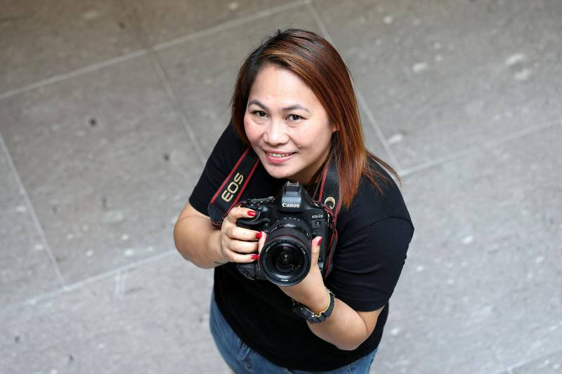 Abu Dhabi, United Arab Emirates - June 27, 2019: Brendalle Belaza is a nanny who discovered her talents as a photographer through NYUAD workshops. Thursday the 27th of June 2019. NYUAD, Abu Dhabi. Chris Whiteoak / The National