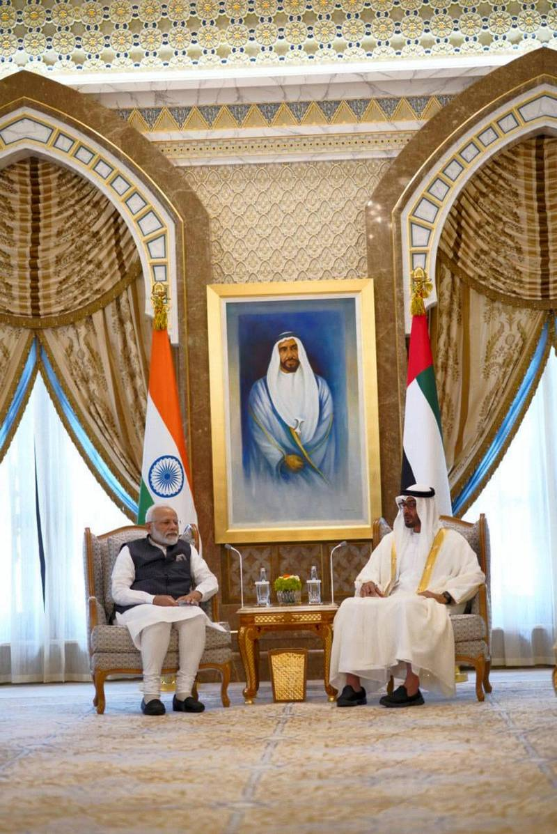 Mohamed bin Zayed receives Indian Prime Minister Narendra Modi at Qasr Al Watan, where he was accorded an official reception