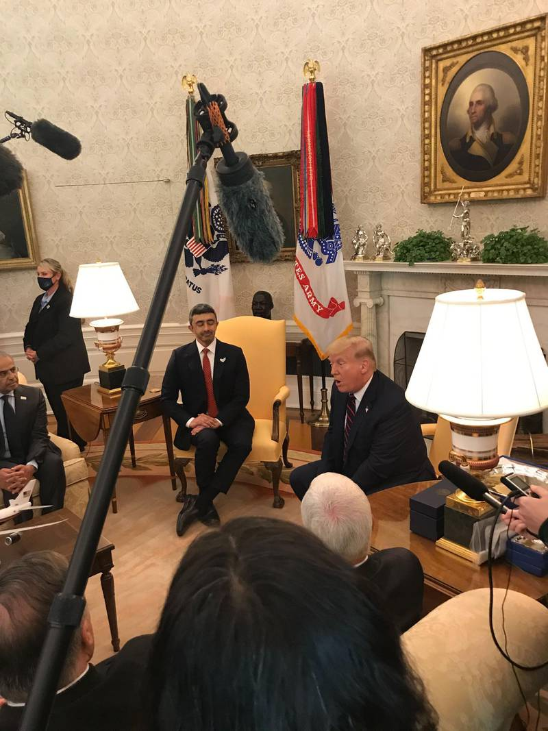 Sheikh Abdullah bin Zayed with by President Donald J. Trump at the White House. Mustafa Alrawi / The National