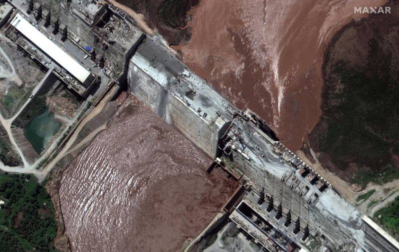 FILE PHOTO: A handout satellite image shows a closeup view of the Grand Ethiopian Renaissance Dam (GERD) and the Blue Nile River in Ethiopia June 26, 2020. Satellite image ©2020 Maxar Technologies via REUTERS ATTENTION EDITORS - THIS IMAGE HAS BEEN SUPPLIED BY A THIRD PARTY. MANDATORY CREDIT. NO RESALES. NO ARCHIVES. MUST NOT OBSCURE WATERMARK/File Photo