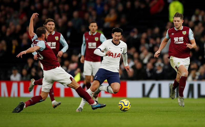 """Soccer Football - Premier League - Tottenham Hotspur v Burnley - Tottenham Hotspur Stadium, London, Britain - December 7, 2019  Tottenham Hotspur's Son Heung-min in action                Action Images via Reuters/Paul Childs  EDITORIAL USE ONLY. No use with unauthorized audio, video, data, fixture lists, club/league logos or """"live"""" services. Online in-match use limited to 75 images, no video emulation. No use in betting, games or single club/league/player publications.  Please contact your account representative for further details."""