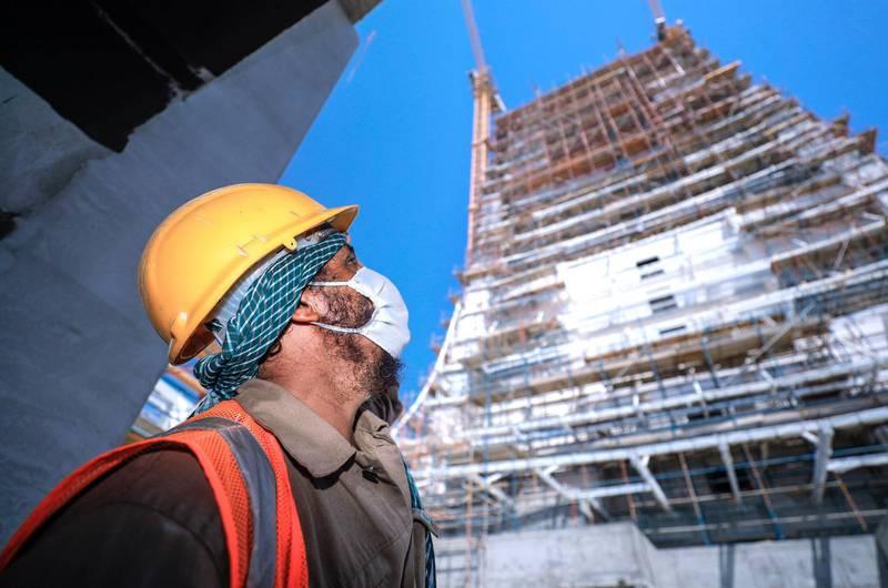 Abu Dhabi, United Arab Emirates, September 27, 2020.  Abu Dhabi City Municipality inspectors check safety standards of a construction site at the Al Raha Gardens, Abu Dhabi.Victor Besa/The NationalSection:  NAReporter:  Haneen Dajani