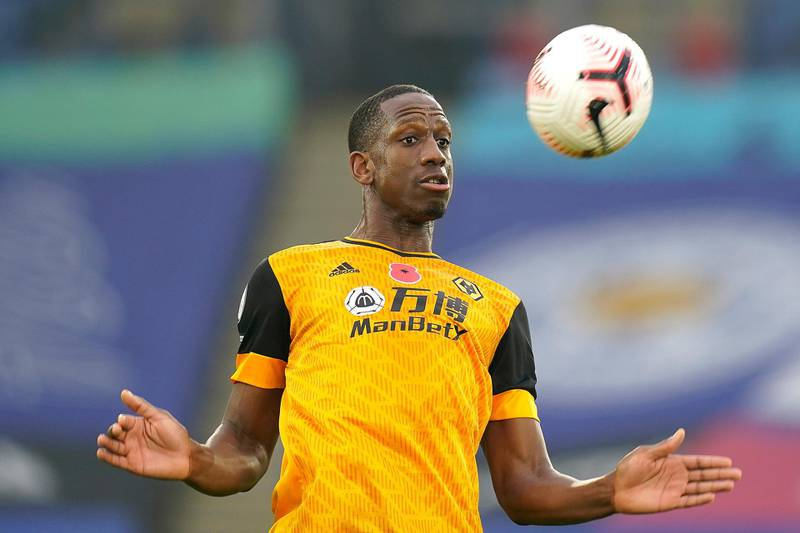LEICESTER, ENGLAND - NOVEMBER 08: Willy Boly of Wolverhampton Wanderers controls the ball during the Premier League match between Leicester City and Wolverhampton Wanderers at The King Power Stadium on November 08, 2020 in Leicester, England. Sporting stadiums around the UK remain under strict restrictions due to the Coronavirus Pandemic as Government social distancing laws prohibit fans inside venues resulting in games being played behind closed doors. (Photo by Tim Keeton - Pool/Getty Images)