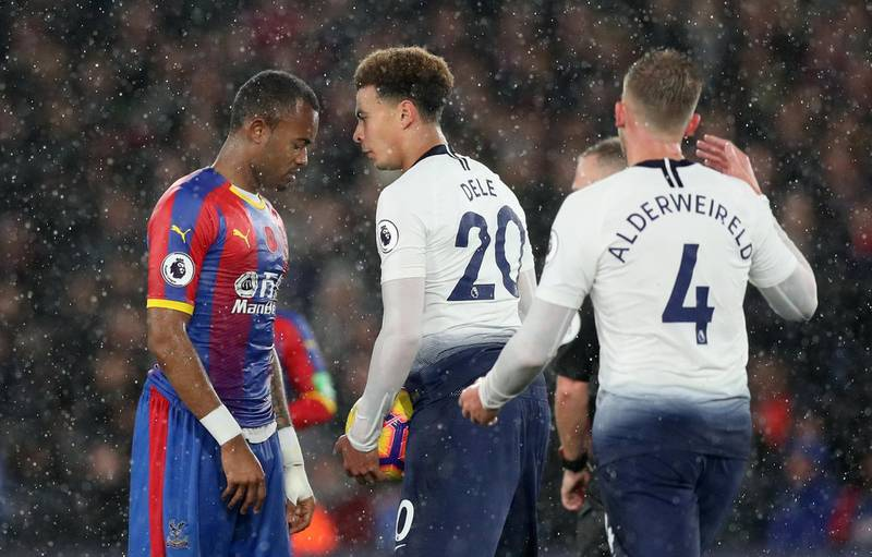 """Soccer Football - Premier League - Crystal Palace v Tottenham Hotspur - Selhurst Park, London, Britain - November 10, 2018  Crystal Palace's Jordan Ayew clashes with Tottenham's Dele Alli    Action Images via Reuters/Peter Cziborra  EDITORIAL USE ONLY. No use with unauthorized audio, video, data, fixture lists, club/league logos or """"live"""" services. Online in-match use limited to 75 images, no video emulation. No use in betting, games or single club/league/player publications.  Please contact your account representative for further details."""