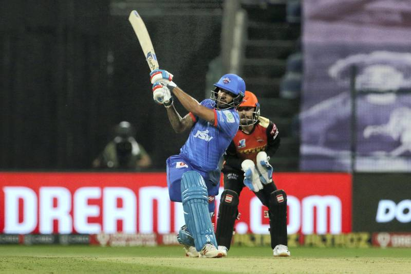 Shikhar Dhawan of Delhi Capitals plays a shot during the qualifier 2 match of season 13 of the Dream 11 Indian Premier League (IPL) between the Delhi Capitals and the Sunrisers Hyderabad at the Sheikh Zayed Stadium, Abu Dhabi in the United Arab Emirates on the 8th November 2020.  Photo by: Vipin Pawar  / Sportzpics for BCCI