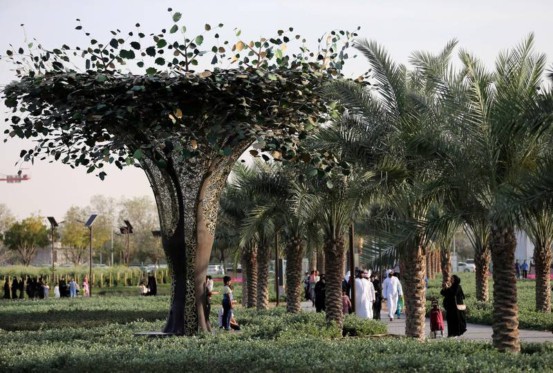 Solar panel trees are seen on the pathway at Dubai's Quranic Park in Dubai, UAE April 6, 2019. Picture taken April 6, 2019. REUTERS/Satish Kumar