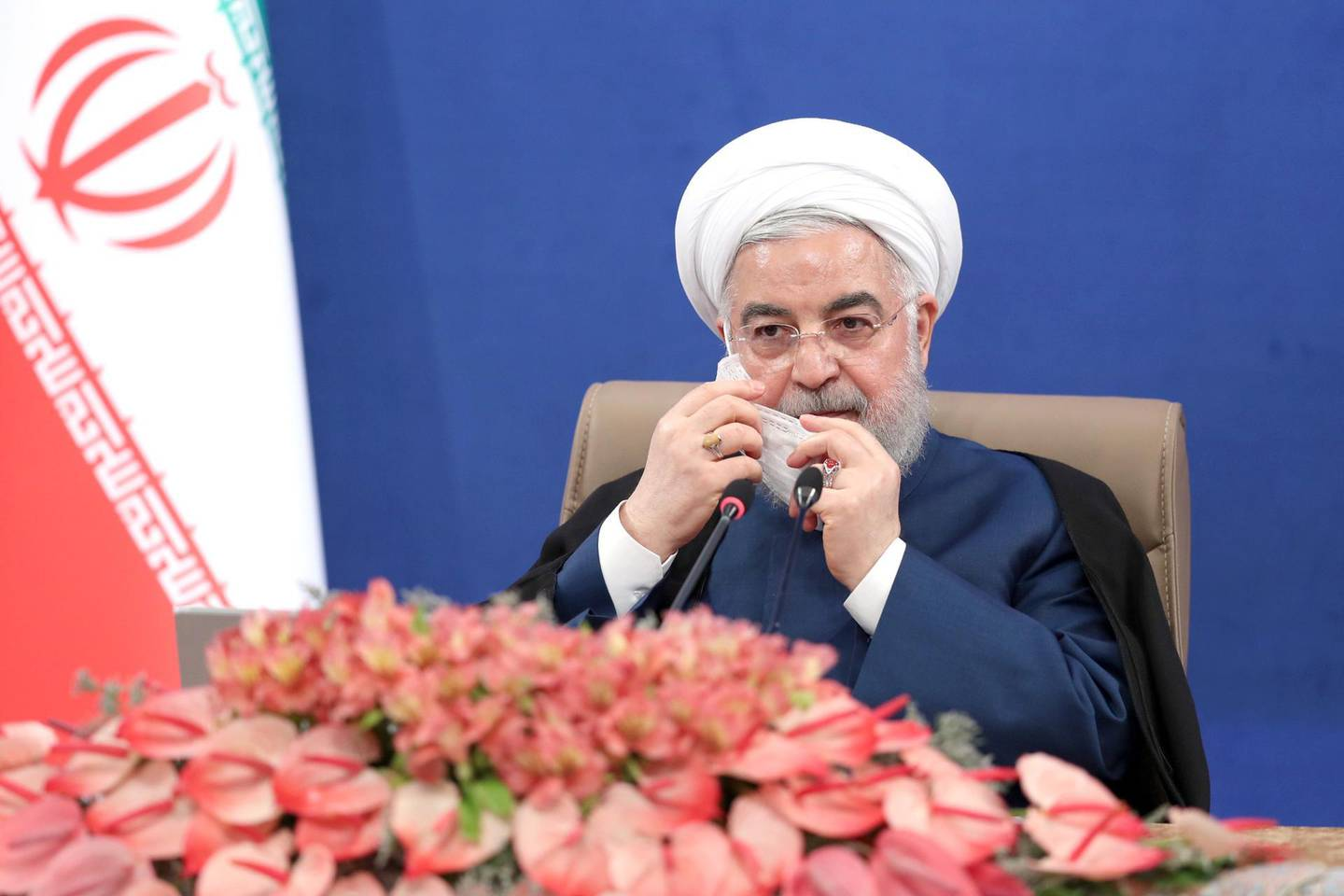 epa08571887 A handout photo made available by the presidential office of Iran shows, Iranian President Hassan Rouhani speaking during a cabinet meeting in Tehran, Iran, 29 July 2020.  EPA/PRESIDENT OFFICE HANDOUT  HANDOUT EDITORIAL USE ONLY/NO SALES