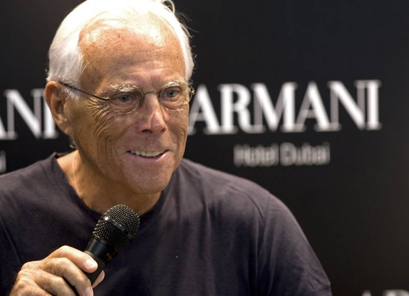Dubai - April 27, 2010 - Giorgio Armani duriing a press conference at the hotel of the Armani Hotel in the Burj Khalifa in Dubai April 27, 2010. (Photo by Jeff Topping/The National)