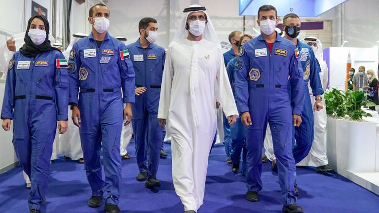 An image that illustrates this article Sheikh Mohammed bin Rashid visits the International Space Exhibition and Conference - in pictures