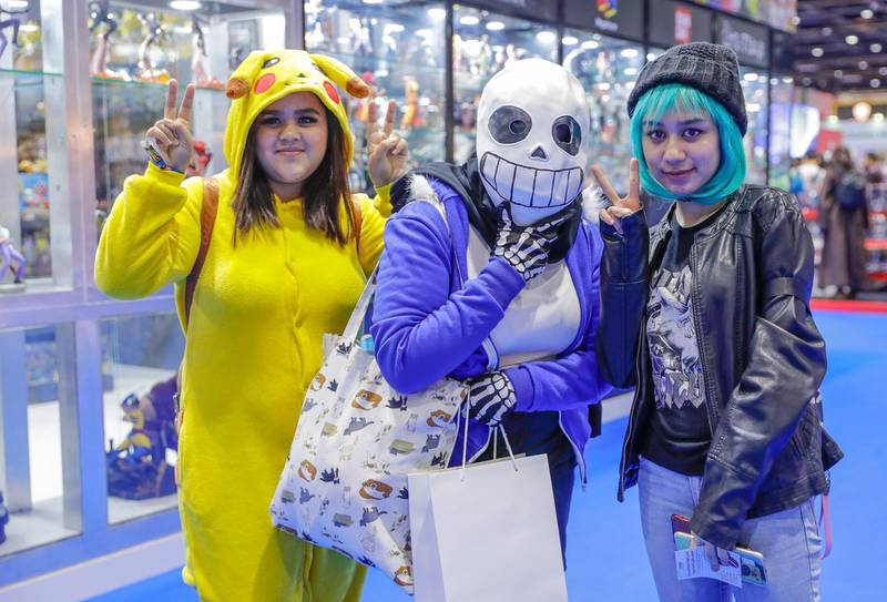 Dubai, April 12, 2019.  MEFCC day 2- (L-R) Maha Mansour as Pikachu, Alya ali as Sans from Undertale and Maitha Alnuaimi as Chloe from life is strange.Victor Besa/The National.Section:  AC  Reporter:  Chris Newbould
