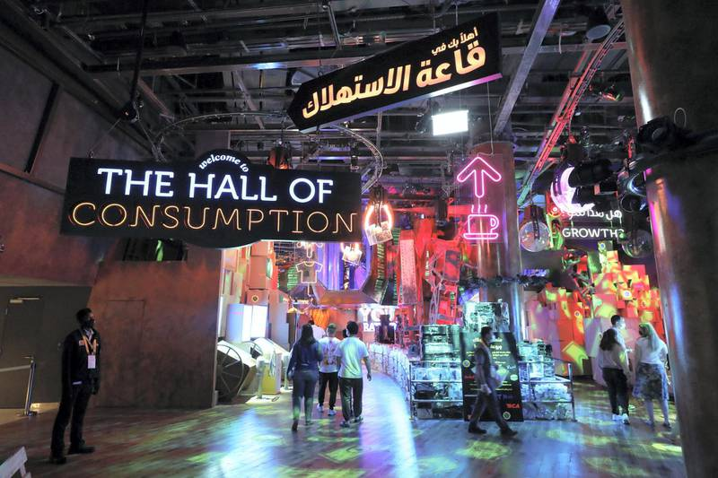 Dubai, United Arab Emirates - Reporter: Ramola Talwar. News. Visitors in the Hall of Consumption. ExpoÕs Sustainability Pavilion opens to the public. Dubai. Thursday, January 21st, 2021. Chris Whiteoak / The National