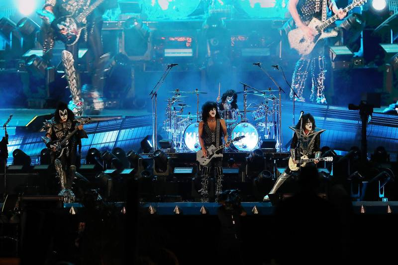 DUBAI, UNITED ARAB EMIRATES , December 31 – 2020 :- Members of the rock band Kiss performing during the New Year's Eve at the Atlantis hotel on Palm Jumeirah in Dubai. ( Pawan Singh / The National ) For News/Standalone/Online/Instagram. Story by Saeed