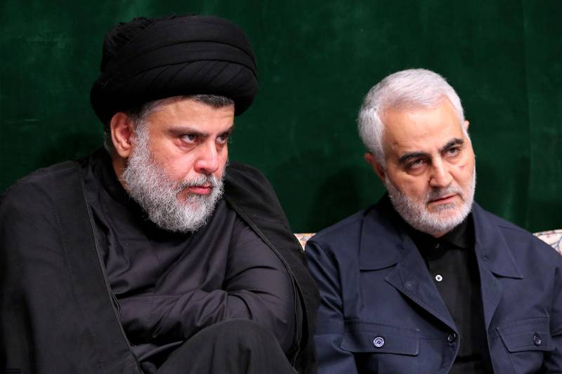epa08099290 (FILE) - A handout photo made available by the Iranian Supreme Leader's office shows Iranian Revolutionary Guards Corps (IRGC) Lieutenant general and commander of the Quds Force Qasem Soleimani (R) and Iraqi Shia cleric, politician and militia leader Muqtada al-Sadr (L) during the Ashura mourning ceremony in Tehran, Iran, 10 September 2019 (reissued 03 January 2020). Soleimani and Iraqi militia commander Abu Mahdi al-Muhandis were killed on 03 January 2020 following a US airstrike at Baghdad's international airport. The attack comes amid escalating tensions between Tehran and Washington.  EPA/IRANIAN SUPREME LEADER'S OFFICE HANDOUT  HANDOUT EDITORIAL USE ONLY/NO SALES