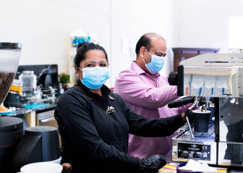 DUBAI, UNITED ARAB EMIRATES. 16 JUNE 2020. Nur Kumari Dhungel works at Fairouz Coffee & Roastery with her husband Ram Kumar. The roastery specializes in Arabic coffee, Turkish coffee, and specialty espresso coffee beans. (Photo: Reem Mohammed/The National)Reporter:Section: