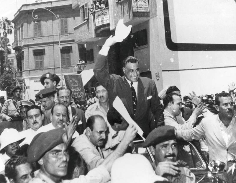 Egyptian president Gamal Abdul Nasser (1918 - 1970 ) arriving back in Cairo from Alexandria following his announcement that he had 'taken over' the Suez Canal Company (Nationalised).  Original Publication: People Disc - HH0267   (Photo by Keystone/Getty Images)