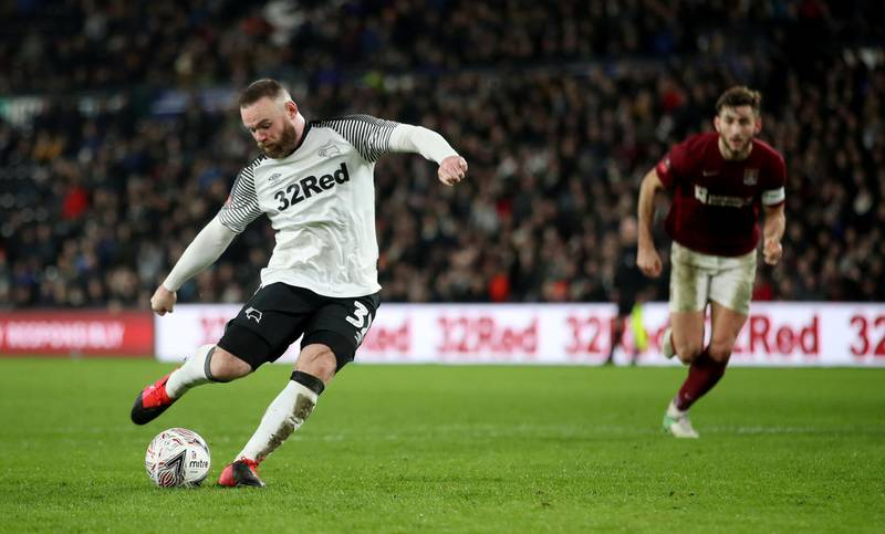 Soccer Football - FA Cup Fourth Round Replay - Derby County v Northampton Town - Pride Park, Derby, Britain - February 4, 2020  Derby County's Wayne Rooney scores their fourth goal from the penalty spot    Action Images/Carl Recine
