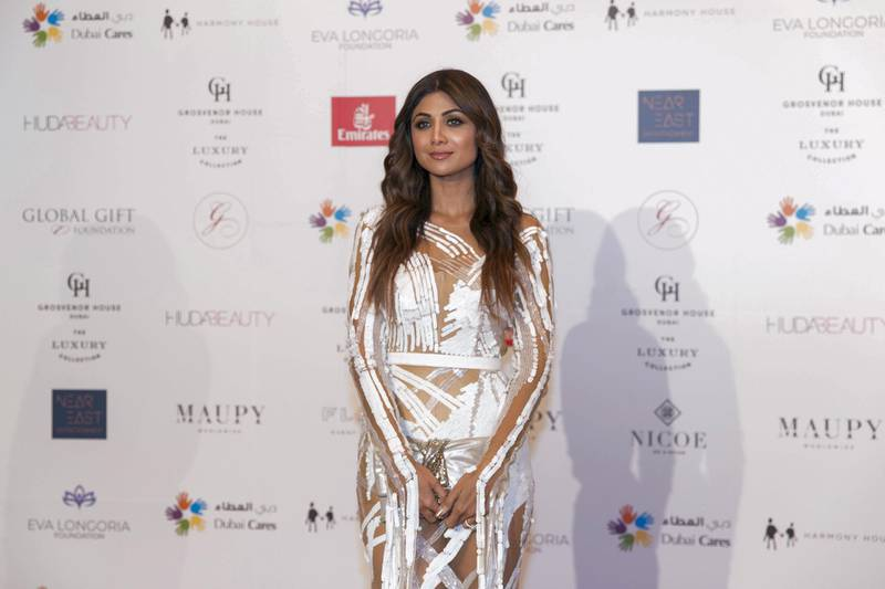 DUBAI, UNITED ARAB EMIRATES - DECEMBER 13, 2018. Actress Shilpa Shetty at the Global Gift Gala red carpet.The gala returns to Dubai for the sixth time. The event is held at the Grosvenor House.(Photo by Reem Mohammed/The National)Reporter: Section:   NA