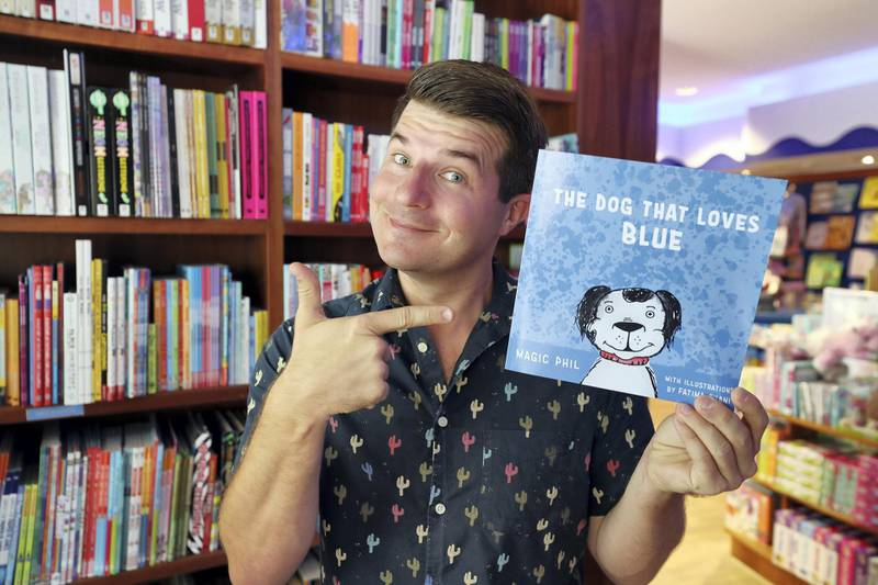 Dubai, United Arab Emirates - May 22, 2019: Philip Nelson aka Magic Phil, who has authored a book called 'The Dog That Loves Blue'. Wednesday the 22nd of May 2019. The Meadows, Dubai. Chris Whiteoak / The National