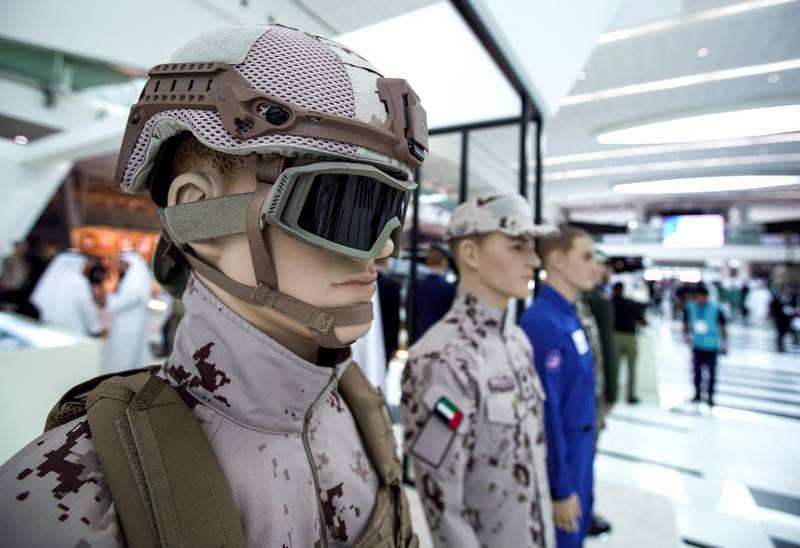 Abu Dhabi, United Arab Emirates, February 24, 2020.  The Unmanned Systems Exhibition and Conference (UMEX 2020) and Simulation Exhibition and Conference (SimTEX 2020).--  The latest lightweight and rugged uniforms were featured in the show.Victor Besa / The NationalSection:  NAReporter:  None