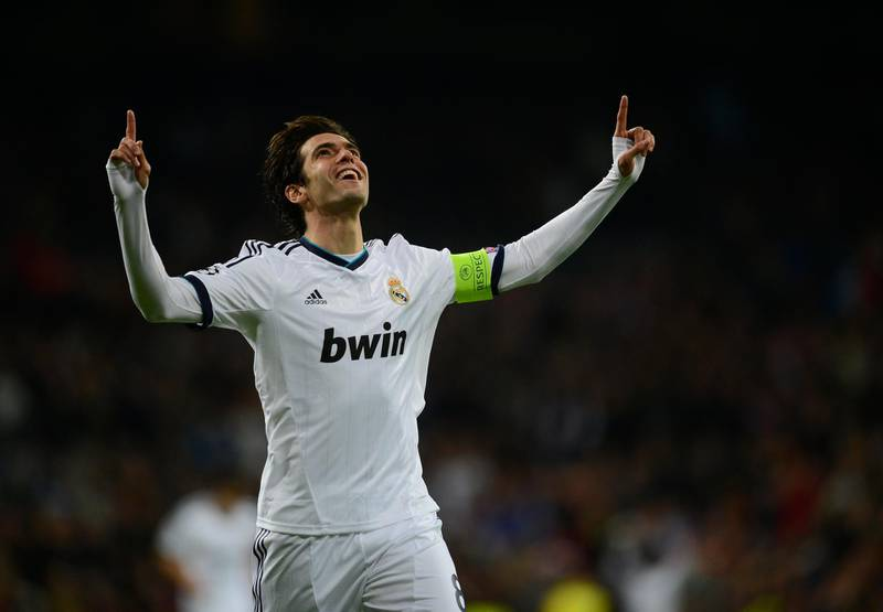 Real Madrid's Brazilian midfielder Kaka celebrates after scoring during the UEFA Champions League football match Real Madrid FC vs Ajax Amsterdam at the Santiago Bernabeu stadium in Madrid on December 4, 2012.   AFP PHOTO/ PIERRE-PHILIPPE MARCOU (Photo by PIERRE-PHILIPPE MARCOU / AFP)
