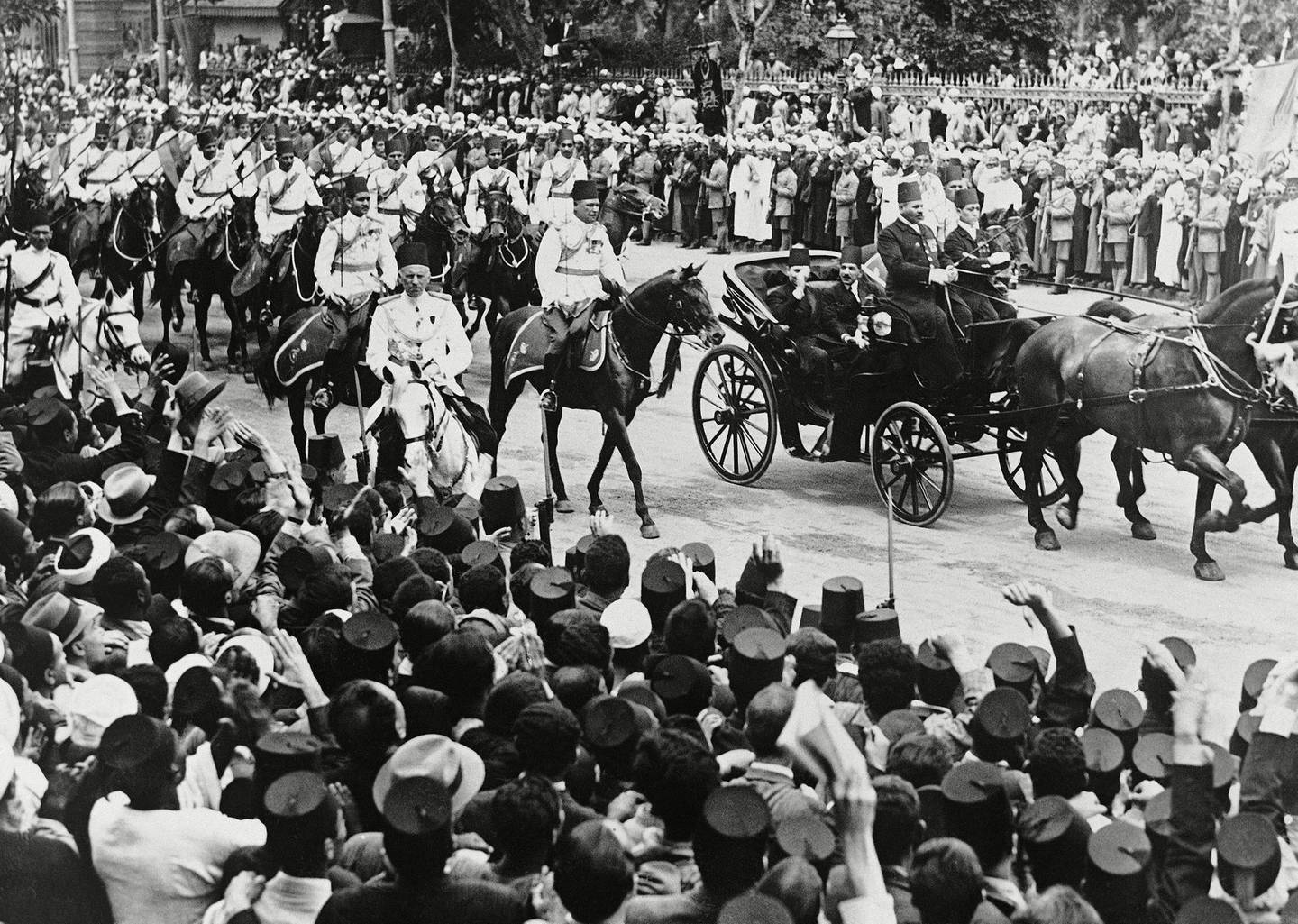 Mandatory Credit: Photo by Len Putnam/AP/Shutterstock (7395286a) Thousands lining one of Cairo's streets, Egypt cheering King Farouk seen driving with Ali Maher Pasha, who was then premier on . When Egypt's New King Farouk, returned to Cairo from England following the death of his father Fuad. The population showed their loyalty in spontaneous outbursts of rejoicing, thousands thronging the streets Egypt Arrival of King Farouk, Cairo, Egypt