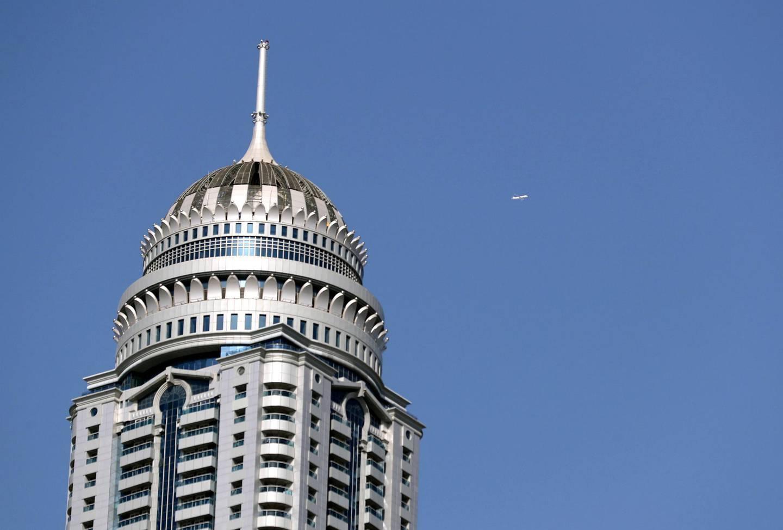 Dubai, United Arab Emirates - Reporter: N/A. News. Standalone. A plane flies passed the Princess Tower in the Dubai marina. Monday, June 22nd, 2020. Dubai. Chris Whiteoak / The National