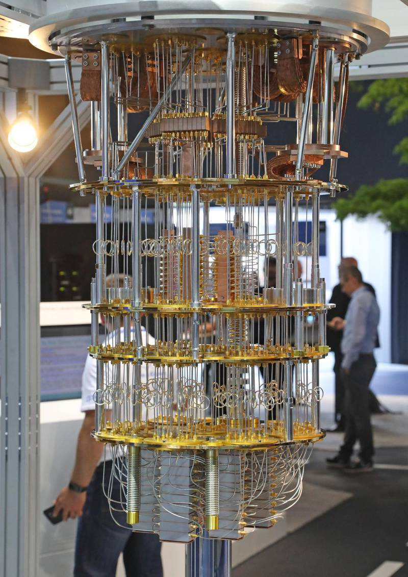 epa06800326 A 'quantum computer' is on display at the IBM booth at the CeBIT computer fair in Hanover, northern Germany, 11 June 2018. About 2,500 exhibitors at the fair present their latest developments in computing, intelligent automotive solutions, artificial intelligence and cloud based services from 11 to 15 June. The 2018 CeBIT in Hannover follows a new concept focusing more on events and conferences.  EPA-EFE/FOCKE STRANGMANN