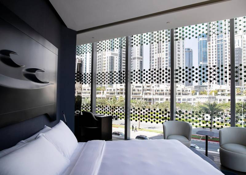 DUBAI, UNITED ARAB EMIRATES. 25 FEBRUARY 2020. Hotel rooms at ME by Melia hotel. It is set to open next month. It is located in The Opus building by Zaha Hadid Architects. Both the interior and exterior is designed by the late Zaha Hadid, who founded Zaha Hadid Architects (ZHA).(Photo: Reem Mohammed/The National)Reporter:Section: