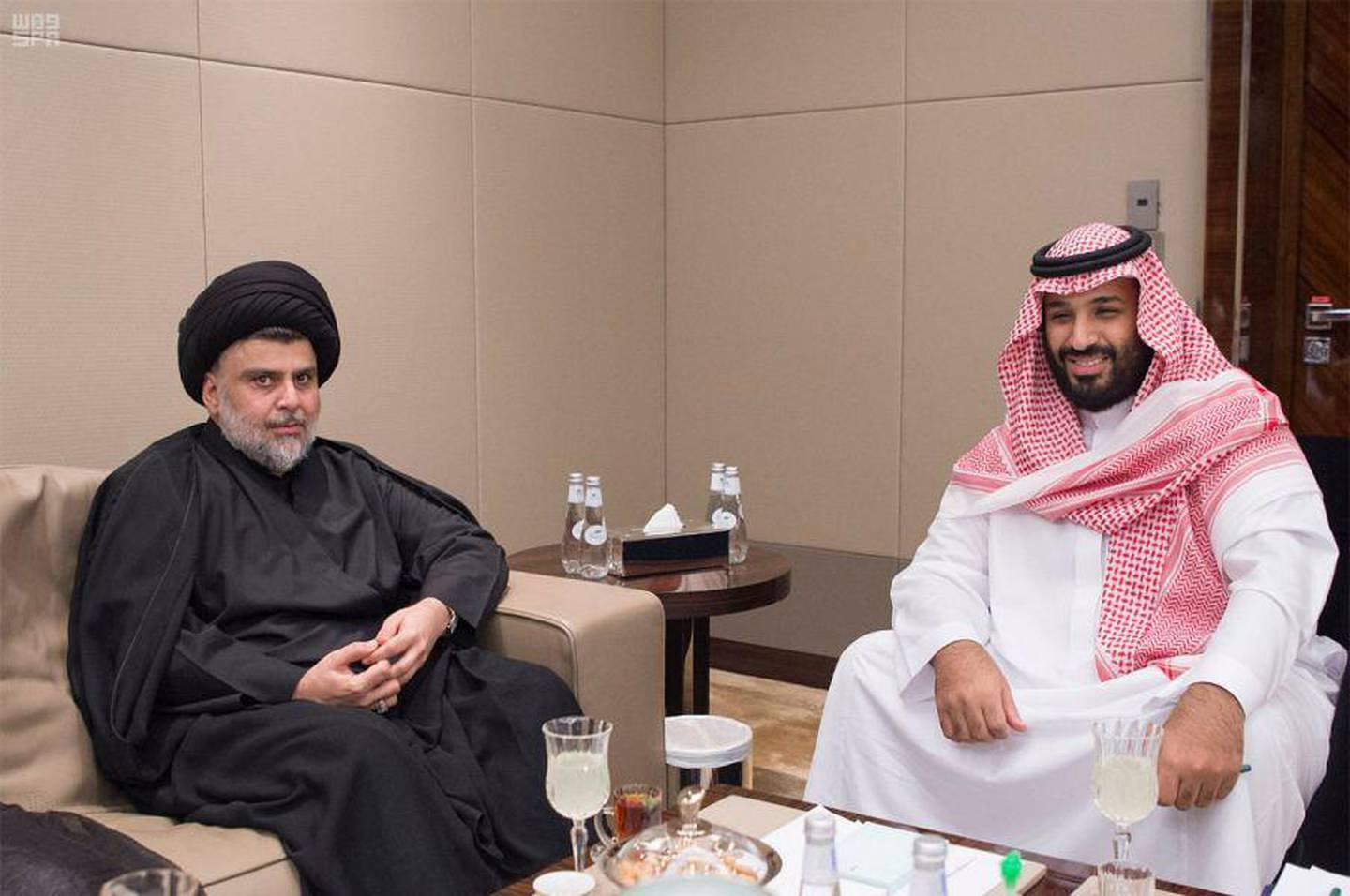 In this Sunday, July 30, 2017 photo released by Saudi Press Agency, SPA, Shiite cleric Muqtada al-Sadr, left, meets with Saudi Crown Prince Mohammed bin Salman in Jiddah, Saudi Arabia. (Saudi Press Agency via AP)