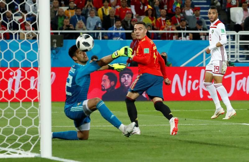 Soccer Football - World Cup - Group B - Spain vs Morocco - Kaliningrad Stadium, Kaliningrad, Russia - June 25, 2018   Spain's Iago Aspas scores their second goal     REUTERS/Gonzalo Fuentes