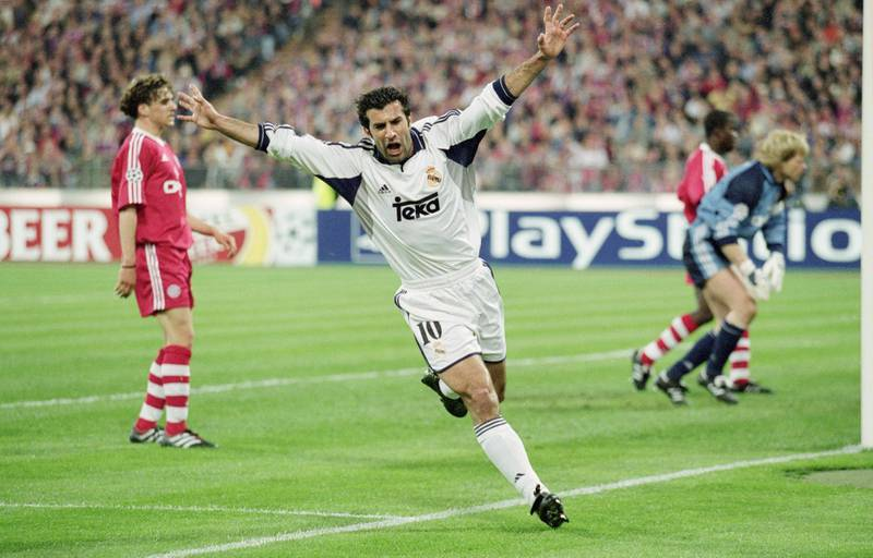 9 May 2001:  Luis Figo of Real Madrid celebrates scoring a goal during the UEFA Champions League Semi-final Second Leg between Bayern Munich and Real Madrid at the Olympic Stadium, Berlin, Germany.  Bayern Munich won the match 2 - 1. \ Mandatory Credit: Mike Hewitt /Allsport