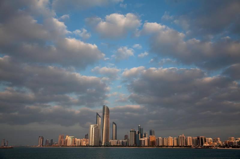 ABU DHABI, UNITED ARAB EMIRATES, Jan. 14, 2014:    The Abu Dhabi skyline as seen from the Breakwater Corniche on Tuesday evening, Jan. 14, 2014.  (Silvia Razgova / The National )