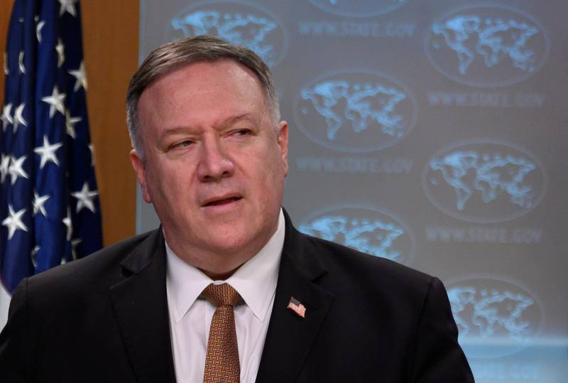 U.S. Secretary of State Mike Pompeo speaks during a news conference at the State Department in Washington, DC, U.S., March 25, 2020. Andrew Caballero-Reynolds/Pool via REUTERS