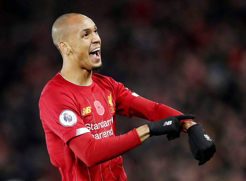 """Soccer Football - Premier League - Liverpool v Manchester City - Anfield, Liverpool, Britain - November 10, 2019  Liverpool's Fabinho celebrates scoring their first goal   Action Images via Reuters/Carl Recine  EDITORIAL USE ONLY. No use with unauthorized audio, video, data, fixture lists, club/league logos or """"live"""" services. Online in-match use limited to 75 images, no video emulation. No use in betting, games or single club/league/player publications.  Please contact your account representative for further details."""