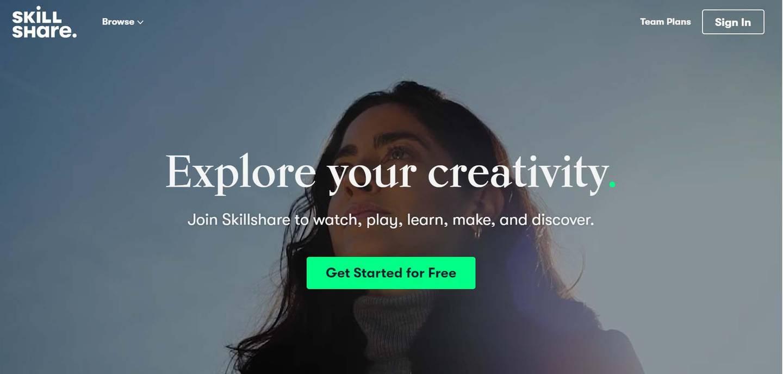 A screenshot of the website of SkillShare.