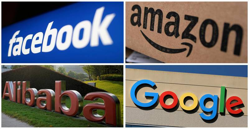 FILE PHOTO: Facebook, Amazon, Alibaba and Google logos are seen in this combination photo from Reuters files.   REUTERS/File Photos