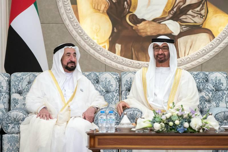 ABU DHABI, UNITED ARAB EMIRATES - August 21, 2018: HH Sheikh Mohamed bin Zayed Al Nahyan, Crown Prince of Abu Dhabi and Deputy Supreme Commander of the UAE Armed Forces (R) and HH Dr Sheikh Sultan bin Mohamed Al Qasimi, UAE Supreme Council Member and Ruler of Sharjah (L), attend Eid Al Adha reception at Mushrif Palace.   (Rashed Al Mansoori / Crown Prince Court - Abu Dhabi ) ---