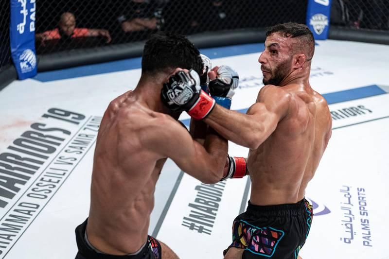 Ali Taleb lands one on Mohamed El Mesbahi in the UAE Warriors 19 Arabia 3 at the Jiu-Jitsu Arena on Friday, June 18, 2021. Courtesy UAE Warriors