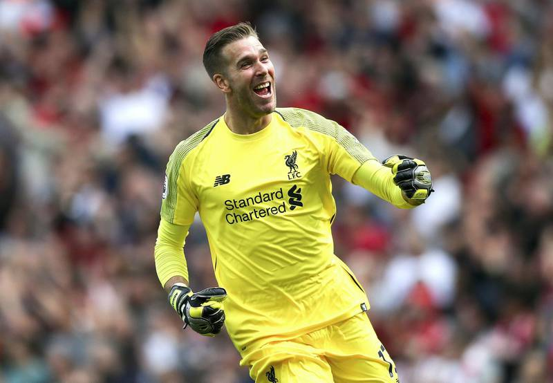 LIVERPOOL, ENGLAND - SEPTEMBER 14: Adrian of Liverpool celebrates his sides third goal during the Premier League match between Liverpool FC and Newcastle United at Anfield on September 14, 2019 in Liverpool, United Kingdom. (Photo by Jan Kruger/Getty Images)