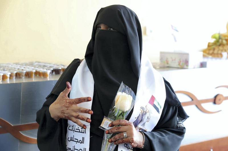 RAK,  UNITED ARAB EMIRATES , OCTOBER 5 – 2019 :- Aiysha Al Shahhi after casting her vote for the FNC elections held at the RAK Exhibition Center in Ras Al Khaimah. ( Pawan Singh / The National ) For News. Story by Ruba