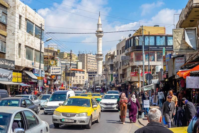 T4WREP Amman, Jordan - March 28, 2019: street view of amman, the capital city of jordan. Alamy