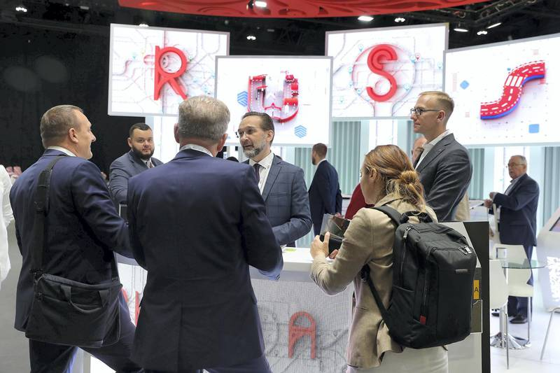 ABU DHABI,  UNITED ARAB EMIRATES , OCTOBER 6 – 2019 :- Delegates at the Russia stand during the 26th World Road Congress exhibition held at Abu Dhabi National Exhibition Center in Abu Dhabi. ( Pawan Singh / The National ) For News. Story by Patrick