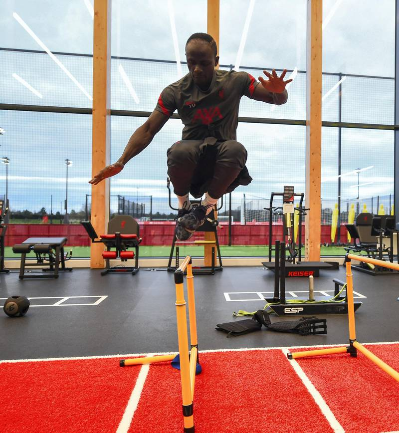 KIRKBY, ENGLAND - NOVEMBER 19: (THE SUN OUT, THE SUN ON SUNDAY OUT) Sadio Mane of Liverpool during a gym training session at AXA Training Centre on November 19, 2020 in Kirkby, England. (Photo by Andrew Powell/Liverpool FC via Getty Images)