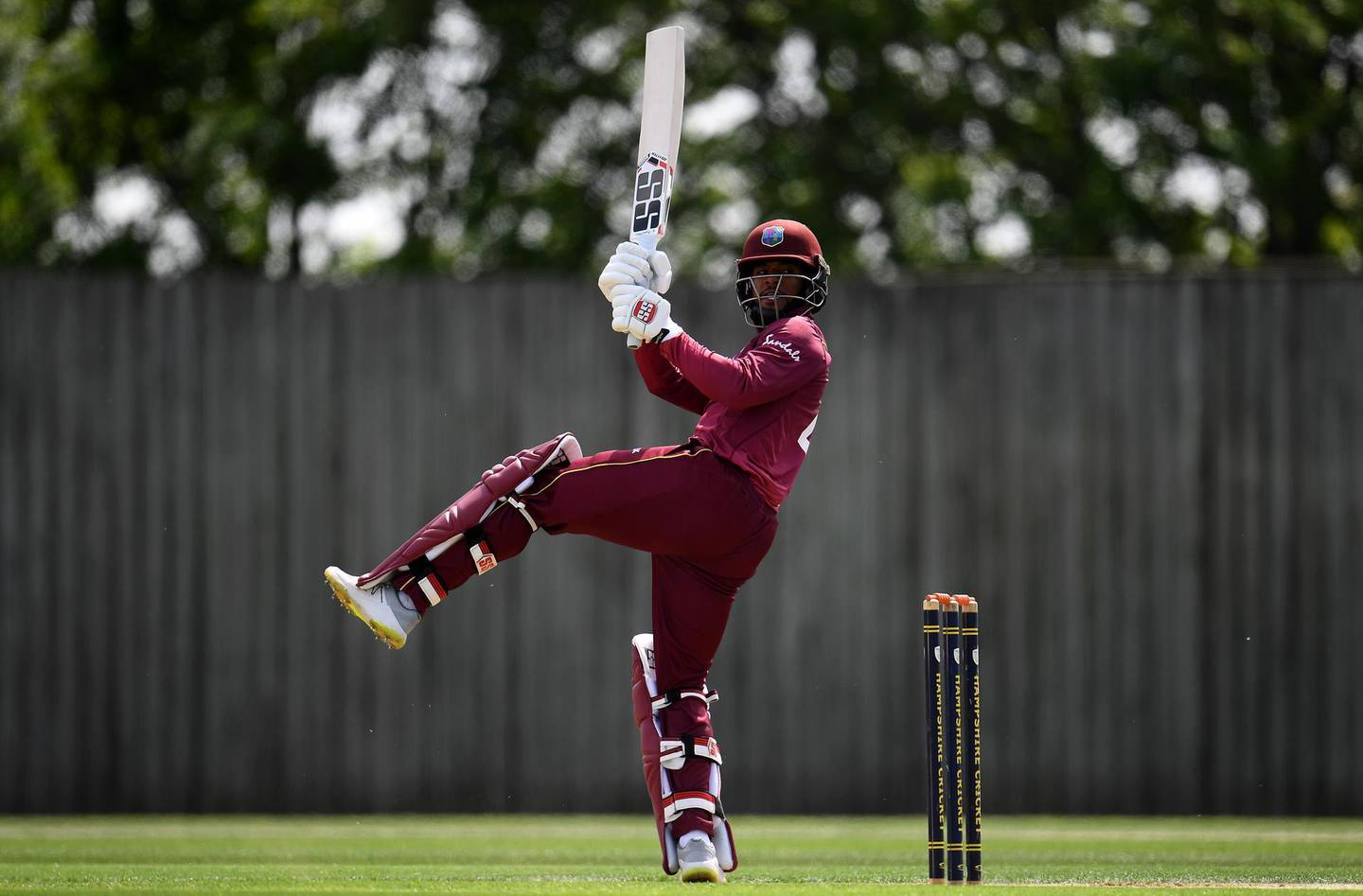 SOUTHAMPTON, ENGLAND - MAY 22: Shai Hope of West Indies bats during the One Day International match between Australia and West Indies at the Ageas Bowl on May 22, 2019 in Southampton, England. (Photo by Harry Trump/Getty Images)