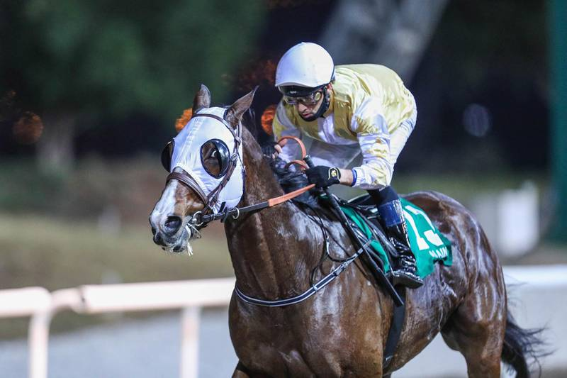 FAITH AND FORTUNE(ARG) ridden by  Sandro Paiva wins the 8F Thoroughbred Handicap the Al Jimi, race 4, at Al Ain, UAE