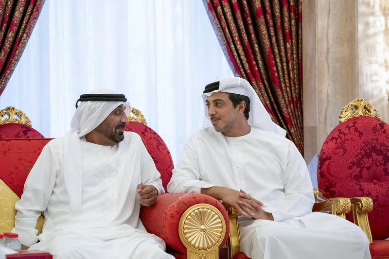 DUBAI, UNITED ARAB EMIRATES - May 19, 2019: HH Sheikh Mansour bin Zayed Al Nahyan, UAE Deputy Prime Minister and Minister of Presidential Affairs, attends an iftar reception hosted by HH Sheikh Mohamed bin Rashid Al Maktoum, Vice-President, Prime Minister of the UAE, Ruler of Dubai and Minister of Defence (not shown), at Zabeel Palace.   ( Mohamed Al Hammadi / Ministry of Presidential Affairs ) ---