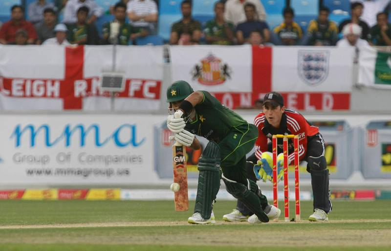 Dubai, 18th February 2012.  Umar Akmal of Pakistan in action against the resilient England team, on their 3rd ODI Cricket match.  ( Jeffrey E Biteng / The National )