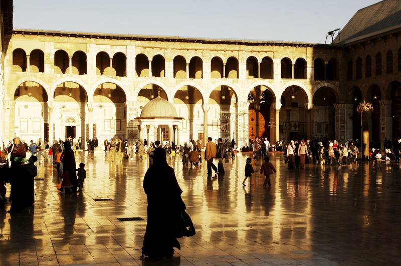 UNSPECIFIED - MAY 23:  Syria - Damascus. Ancient city. UNESCO World Heritage List, 1979. Umayyad Great Mosque, AD 705-715. Arcaded courtyard  (Photo by DEA / C. SAPPA/De Agostini/Getty Images)
