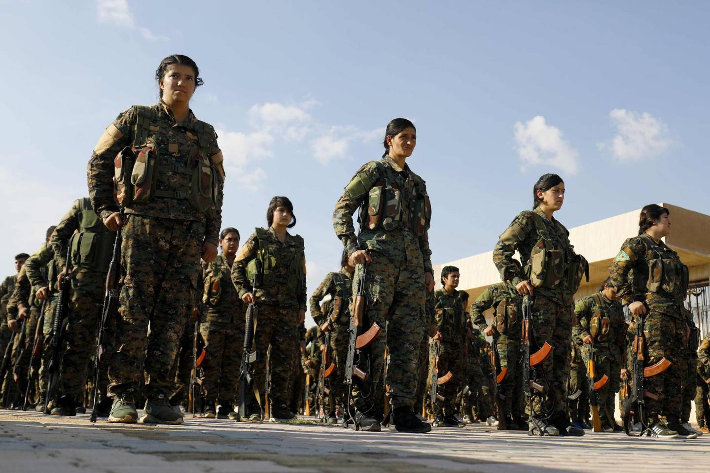 """(FILES) In this file photo taken on November 10, 2018, fighters from the Syrian Democratic Forces (SDF), participate in a military parade during the funeral of a fellow fighter, killed during a military mission, in the Kurdish-controlled city of Qamishly in northeastern Syria. Any unilateral military action in northern Syria would be """"unacceptable,"""" the Pentagon warned Wednesday after Turkey said it would soon launch an operation against a US-backed Kurdish militia. """"Unilateral military action into northeast Syria by any party, particularly as US personnel may be present or in the vicinity, is of grave concern,"""" Pentagon spokesman Commander Sean Robertson said in a statement. / AFP / Delil SOULEIMAN"""