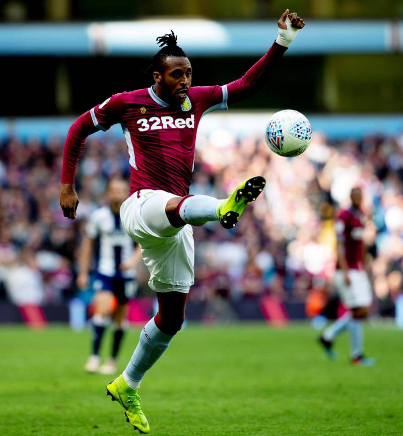 BIRMINGHAM, ENGLAND - MAY 11:  Jonathan Kodjia of Aston Villa in action during the Sky Bet Championship Play-off Semi Final First Leg between Aston Villa and West Bromwich Albion at Villa Park on May 11, 2019 in Birmingham, England. (Photo by Neville Williams/Aston Villa FC via Getty Images)